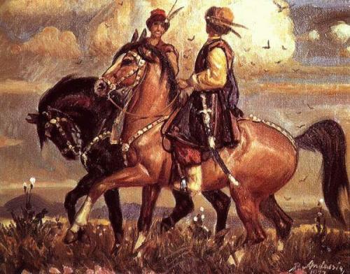 Два козаки в поході. петро андрусів, 1977